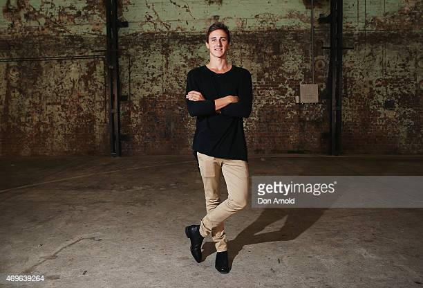 Cameron McCoy wears top by Clothe Wardrobe Pants by Neuw and Shoes by RM Williams at MercedesBenz Fashion Week Australia 2015 at Carriageworks on...