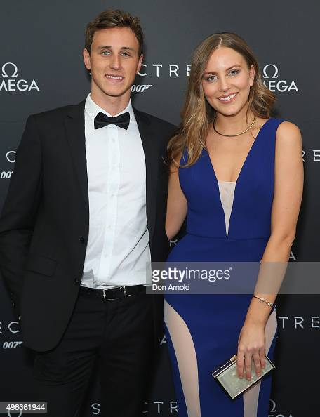 Cameron McEvoy and Violet Atkinson arrive ahead of the Omega VIP screening of the latest James Bond film SPECTRE at Dendy Cinemas Circular Quay on...