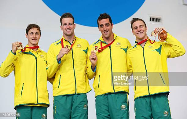 Cameron McEvoy James Magnussen Matt Abood and Tommaso D'Orsogna of Australia pose with their gold medals during the medal ceremony for the Men's 4 x...