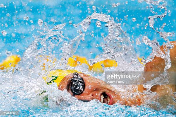 Cameron Mcevoy of Australia competes during the Men's 4x100m Medley Preliminary round on day seventeen of the Budapest 2017 FINA World Championships...