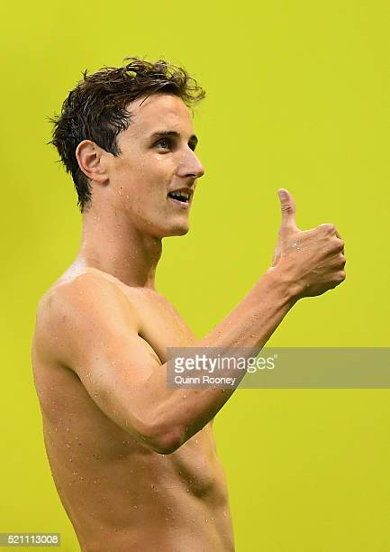 Cameron McEvoy of Australia gives the thumbs up after competing in the 4 x 100 metre Freestyle Relay during the 2016 Australian Swimming...