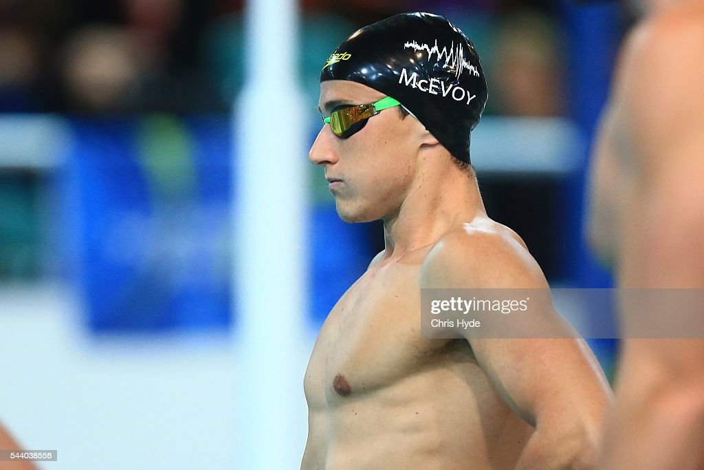 <a gi-track='captionPersonalityLinkClicked' href=/galleries/search?phrase=Cameron+McEvoy&family=editorial&specificpeople=8602091 ng-click='$event.stopPropagation()'>Cameron McEvoy</a> prepares for the 100 Metre Freestyle during the 2016 Australian Swimming Grand Prix at the Chandler Sports Centre on July 1, 2016 in Brisbane, Australia.