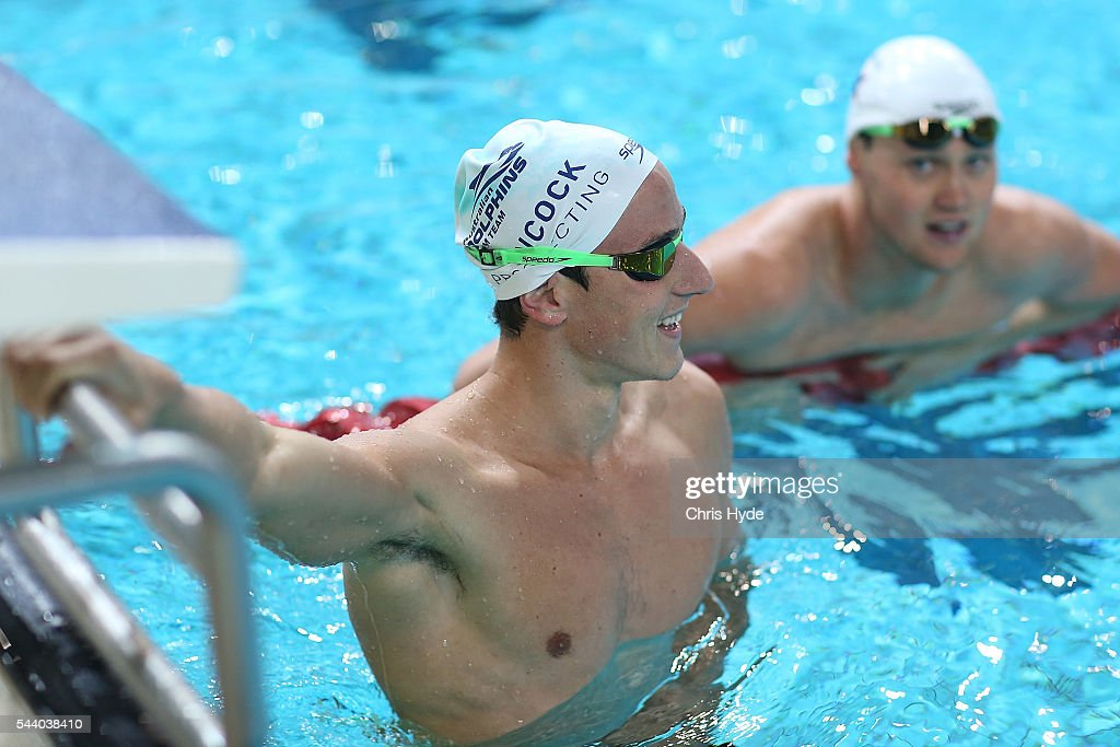 <a gi-track='captionPersonalityLinkClicked' href=/galleries/search?phrase=Cameron+McEvoy&family=editorial&specificpeople=8602091 ng-click='$event.stopPropagation()'>Cameron McEvoy</a> smiles after the 50 Metre Freestyle Relay during the 2016 Australian Swimming Grand Prix at the Chandler Sports Centre on July 1, 2016 in Brisbane, Australia.