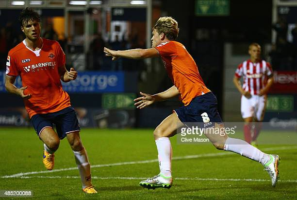 Cameron McGeehan of Luton Town celebrates his goal during the Capital One Cup second round match between Luton Town and Stoke City at Kenilworth Road...