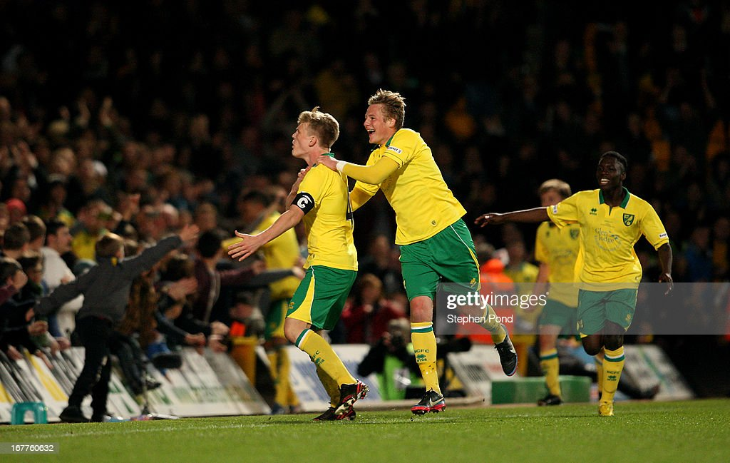 Cameron McGeehan of Norwich City celebrates scoring from the penalty spot during the FA Youth Cup Final First Leg match between Norwich City and Chelsea at Carrow Road on April 29, 2013 in Norwich, England.
