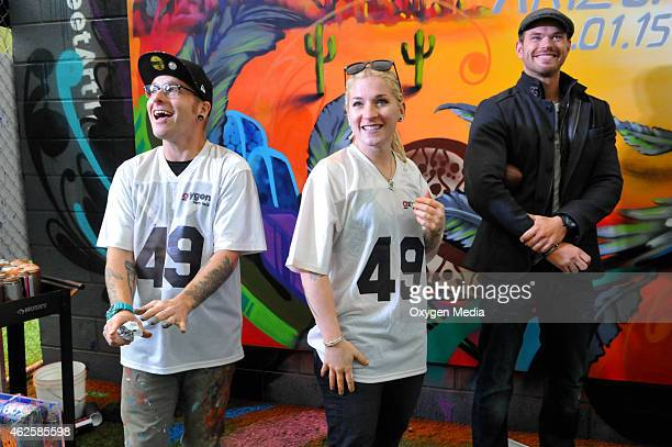 Cameron Moberg Jenna Morello and actor Kellan Lutz participate in the 'Oxygen 2015 Super Bowl XLIX Activation' in support of their upcoming...