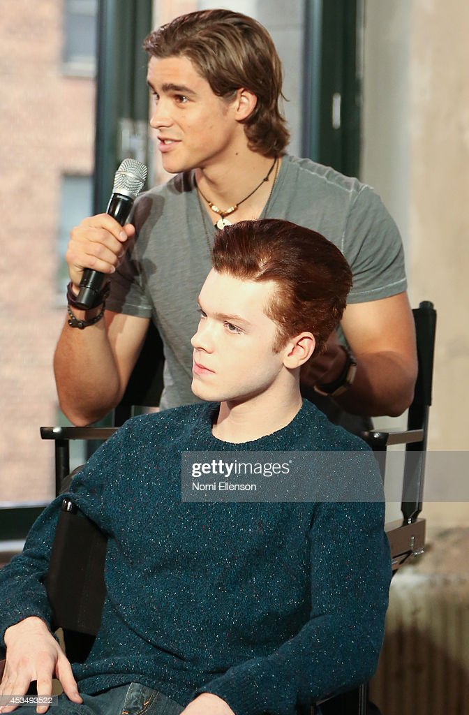 Cameron Monaghan and Brenton Thwaites attends AOL's Build Speaker Series Presents: 'The Giver' Author, Director & Cast at AOL Studios In New York on August 11, 2014 in New York City.
