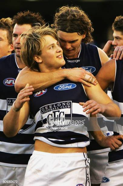 Cameron Mooney and Gary Ablett of the Cats celebrate after the round eleven AFL match between The Western Bulldogs and the Geelong Cats at the...
