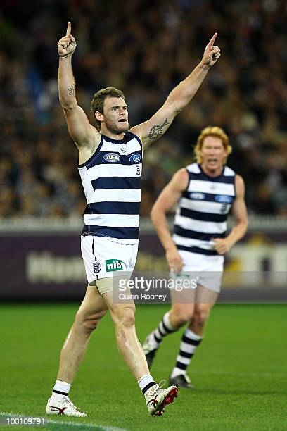 Cameron Mooney of the Cats celebrates kicking a goal during the round nine AFL match between the Collingwood Magpies and the Geelong Cats at...