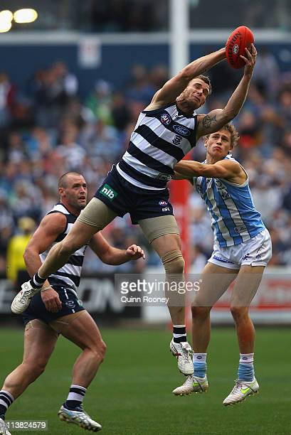 Cameron Mooney of the Cats marks during the round seven AFL match between the Geelong Cats and the North Melbourne Kangaroos at Skilled Stadium on...
