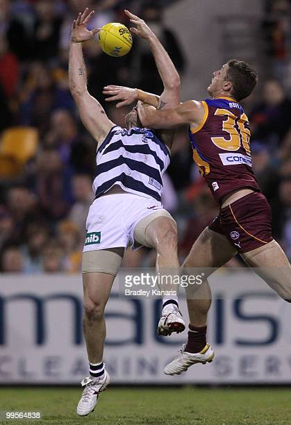 Cameron Mooney of the Cats takes a mark during the round eight AFL match between the Brisbane Lions and the Geelong Cats at The Gabba on May 15 2010...