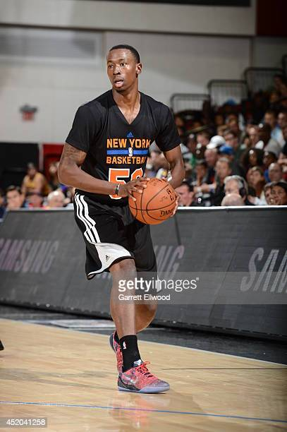 Cameron Moore of the New York Knicks dribbles the ball against the Dallas Mavericks at the Samsung NBA Summer League 2014 on July 11 2014 at the Cox...