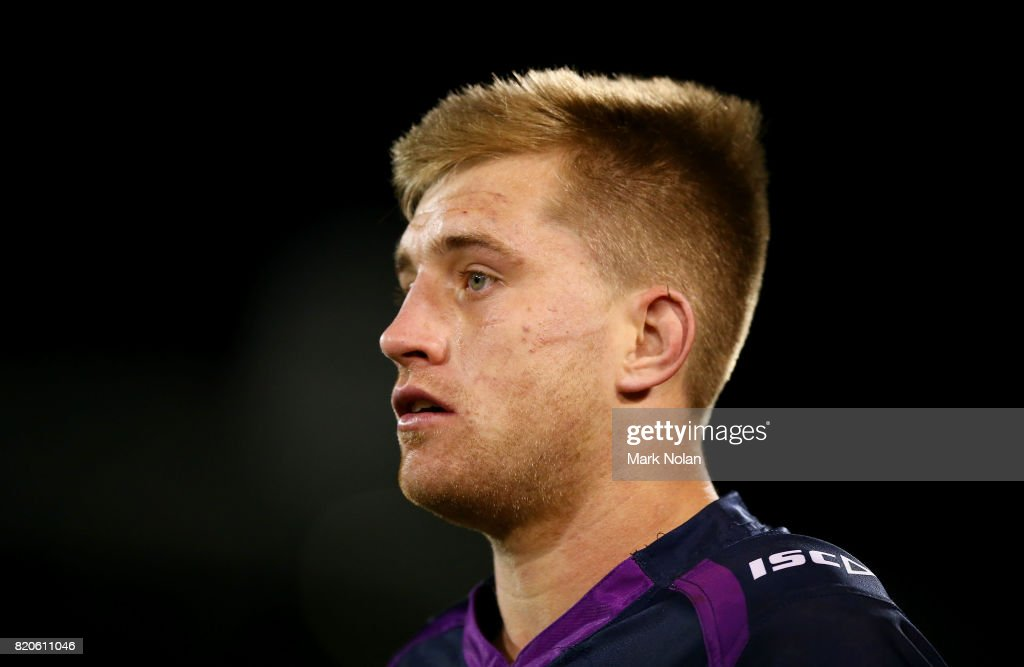 Cameron Munster of the Storm is pictured during the round 20 NRL match between the Canberra Raiders and the Melbourne Storm at GIO Stadium on July 22, 2017 in Canberra, Australia.