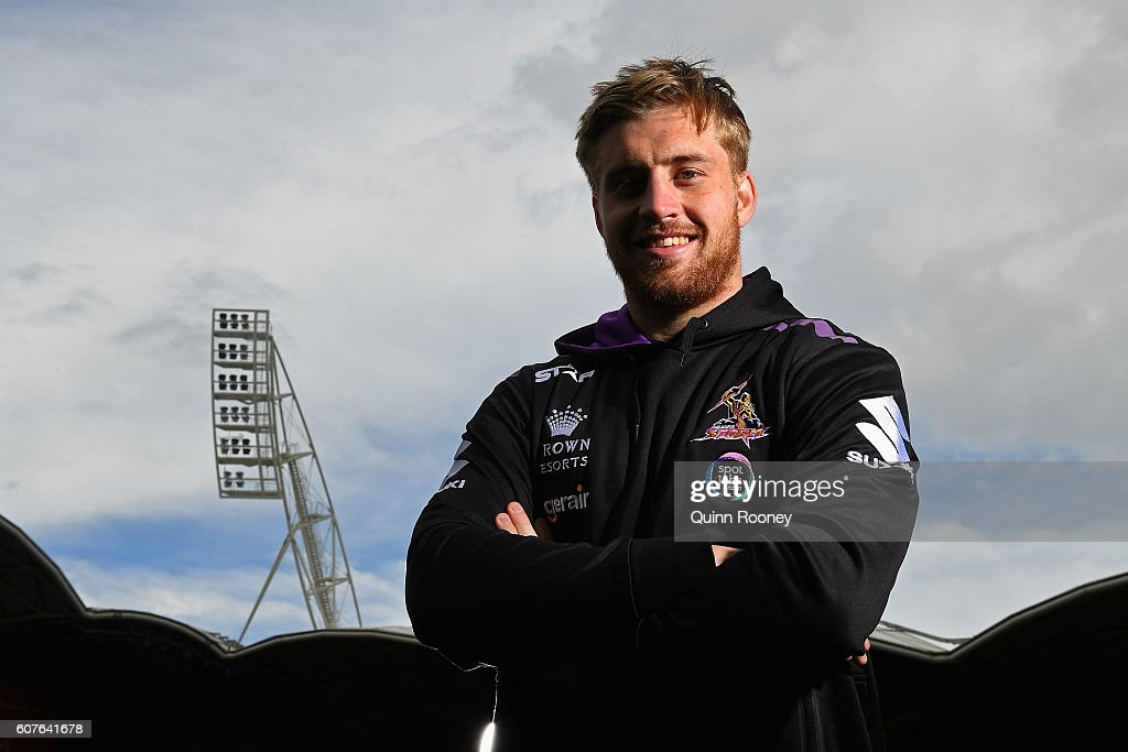 Cameron Munster of the Storm poses during a Melbourne Storm NRL Media Opportunity at AAMI Park on September 19, 2016 in Melbourne, Australia.