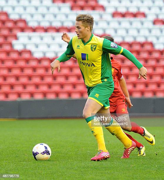 Cameron Norman of Norwich in action during the Barclays Premier League Under 21 fixture between Liverpool and Norwich City at Anfield on April 4 in...