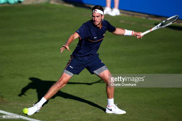 Cameron Norrie of Great Britain in action during his first round match against Horacio Zeballos of Argentina during day two of the Aegon...