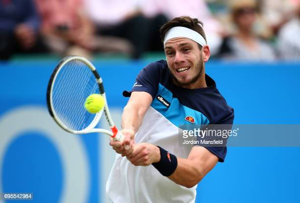 Cameron Norrie of Great Britain plays a backhand during his Mens singles first round match against Kenny de Schepper of France during day two of the...