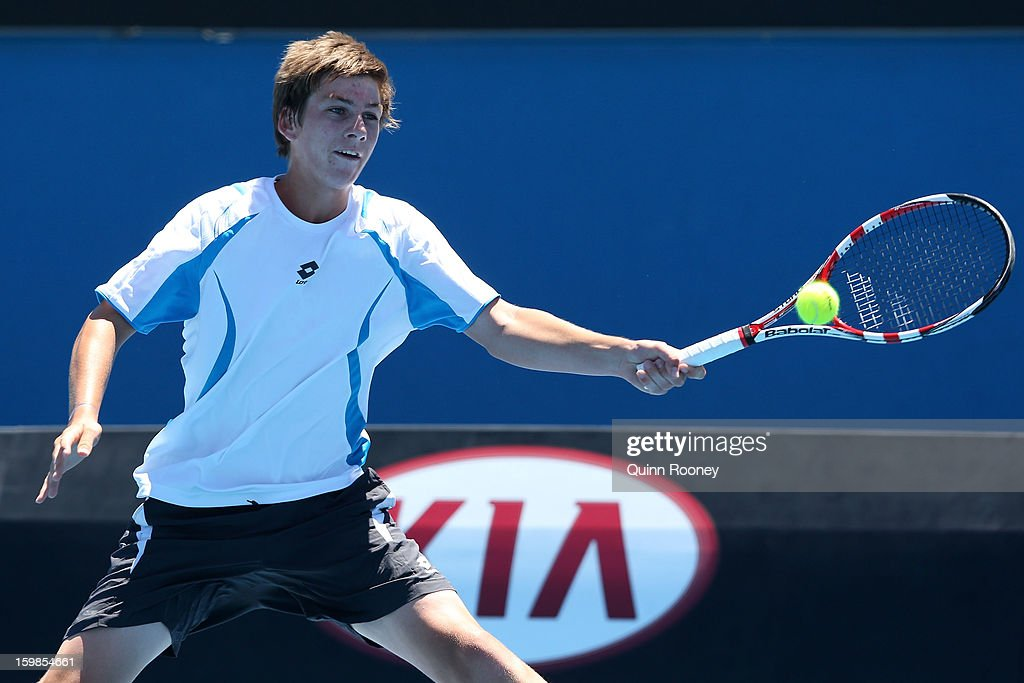Cameron Norrie of New Zealand plays a forehand in his second round match against Nick Kyrgios of Australia during the 2013 Australian Open Junior Championshipsat Melbourne Park on January 22, 2013 in Melbourne, Australia.