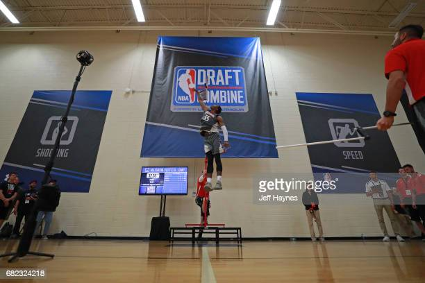 Cameron Oliver participates in the vertical jump during the NBA Draft Combine at the Quest Multisport Center on May 11 2017 in Chicago Illinois NOTE...