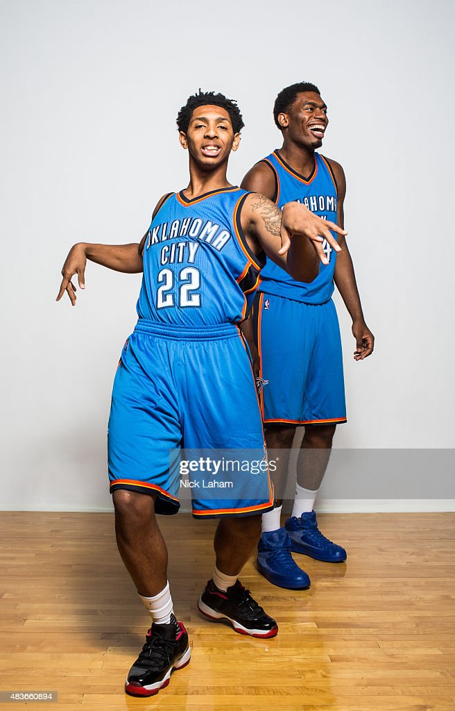 Cameron Payne and Dakari Johnson of the Oklahoma City Thunder poses for a portrait during the 2015 NBA rookie photo shoot on August 8 2015 at the...