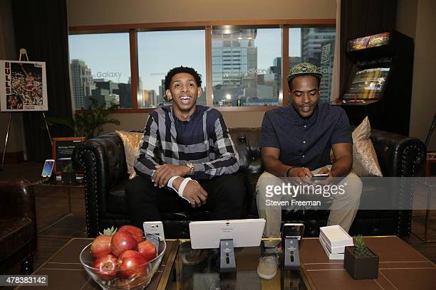 Cameron Payne attends the NBA pre draft rookie appearances in New York New York NOTE TO USER User expressly acknowledges and agrees that by...