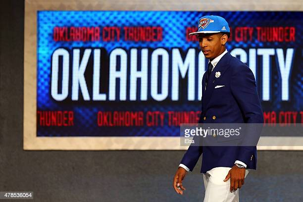 Cameron Payne leaves the stage after being selected 14th overall by the Oklahoma City Thunder in the First Round of the 2015 NBA Draft at the...
