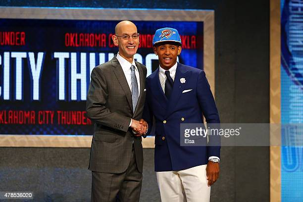 Cameron Payne meets with Commissioner Adam Silver after being selected 14th overall by the Oklahoma City Thunder in the First Round of the 2015 NBA...