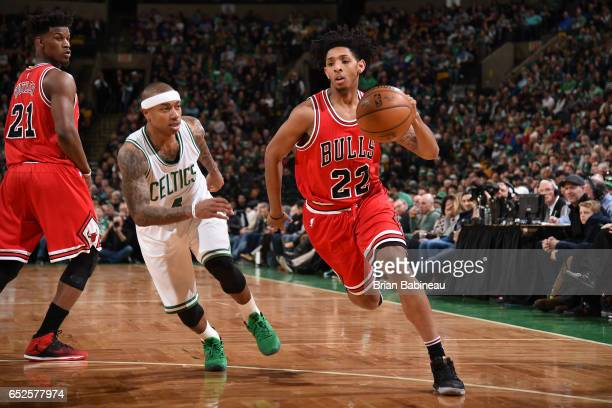 Cameron Payne of the Chicago Bulls drives to the basket against the Boston Celtics during the game on March 12 2017 at the TD Garden in Boston...