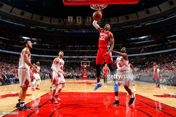 Cameron Payne of the Chicago Bulls dunks against the Chicago Bulls during the game on March 24 2017 at the United Center in Chicago Illinois NOTE TO...