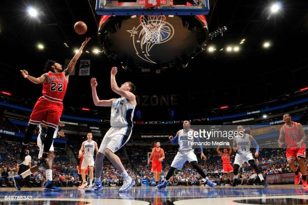 Cameron Payne of the Chicago Bulls goes to the basket against the Orlando Magic on March 8 2017 at Amway Center in Orlando Florida NOTE TO USER User...