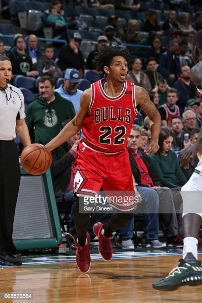 Cameron Payne of the Chicago Bulls handles the ball during the game against the Milwaukee Bucks on March 26 2017 at the BMO Harris Bradley Center in...