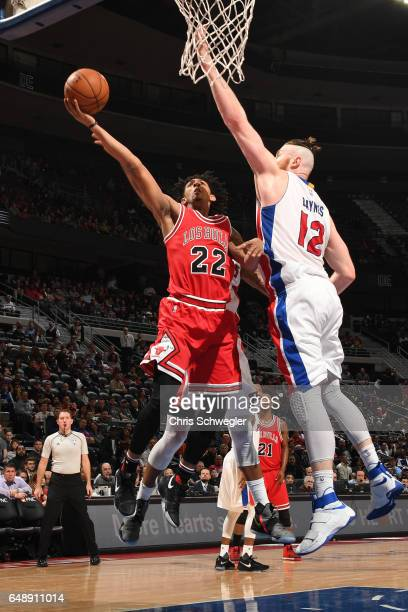 Cameron Payne of the Chicago Bulls shoots a lay up against the Detroit Pistons on March 6 2017 at The Palace of Auburn Hills in Auburn Hills Michigan...