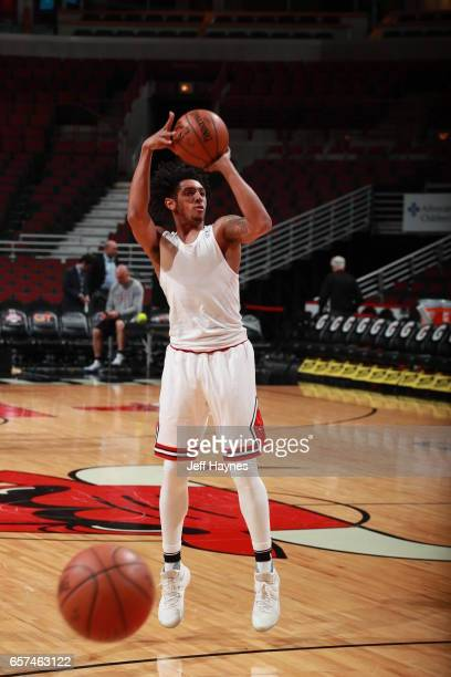Cameron Payne of the Chicago Bulls warms up before the game against the Philadelphia 76ers during the game on March 24 2017 at the United Center in...