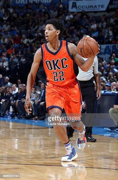 Cameron Payne of the Oklahoma City Thunder brings the ball up court against the Dallas Mavericks on November 22 2015 at Chesapeake Energy Arena in...