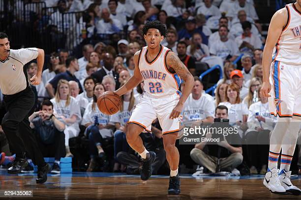 Cameron Payne of the Oklahoma City Thunder brings the ball up court against the San Antonio Spurs in Game Four of the Western Conference Semifinals...