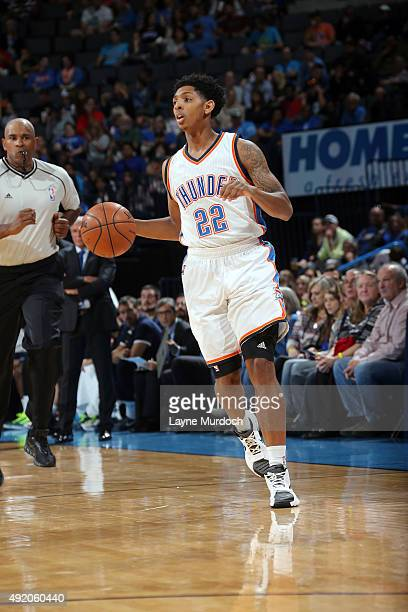 Cameron Payne of the Oklahoma City Thunder dribbles the ball against Fenerbahce during a preseason game on October 9 2015 at Chesapeake Energy Arena...