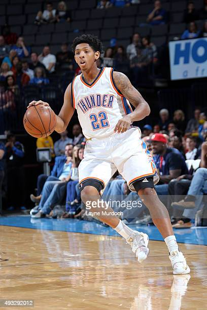 Cameron Payne of the Oklahoma City Thunder dribbles the ball against the Denver Nuggets during a preseason game on October 18 2015 at Chesapeake...