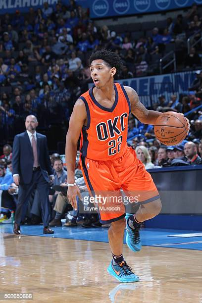 Cameron Payne of the Oklahoma City Thunder dribbles the ball against the Denver Nuggets on December 27 2015 at Chesapeake Energy Arena in Oklahoma...