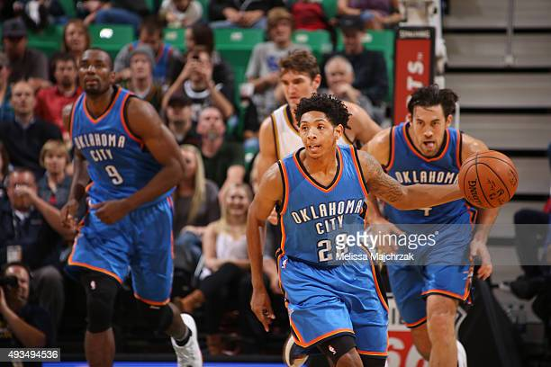 Cameron Payne of the Oklahoma City Thunder drives to the basket against the Utah Jazz during the preseason game on October 20 2015 at EnergySolutions...