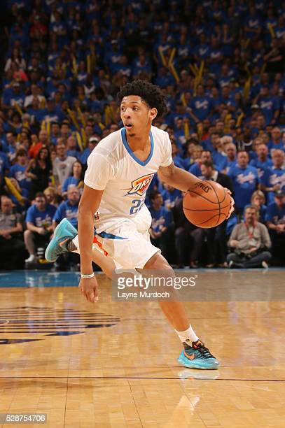 Cameron Payne of the Oklahoma City Thunder drives to the basket against the San Antonio Spurs during Game Three of the Western Conference Semifinals...