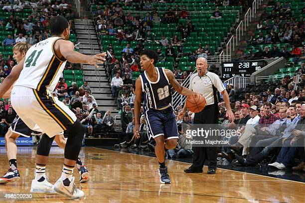 Cameron Payne of the Oklahoma City Thunder handles the ball against the Utah Jazz on November 23 2015 at Vivint Smart Home Arena in Salt Lake City...
