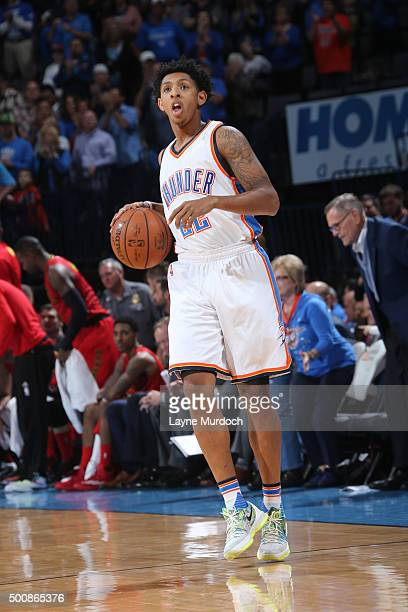 Cameron Payne of the Oklahoma City Thunder handles the ball against the Atlanta Hawks on December 10 2015 at Chesapeake Energy Arena in Oklahoma City...