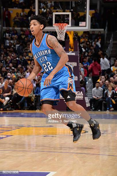 Cameron Payne of the Oklahoma City Thunder handles the ball against the Los Angeles Lakers on December 23 2015 at STAPLES Center in Los Angeles...