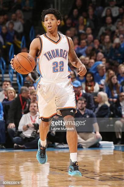 Cameron Payne of the Oklahoma City Thunder handles the ball against the Charlotte Hornets on January 20 2016 at Chesapeake Energy Arena in Oklahoma...