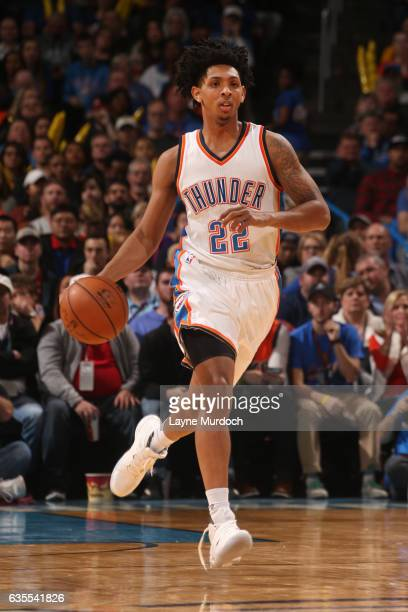 Cameron Payne of the Oklahoma City Thunder handles the ball during a game against the New York Knicks on February 15 2017 at Chesapeake Energy Arena...