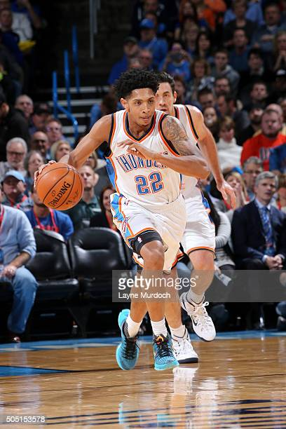 Cameron Payne of the Oklahoma City Thunder handles the ball during the game against the Minnesota Timberwolves on January 15 2016 at Chesapeake...