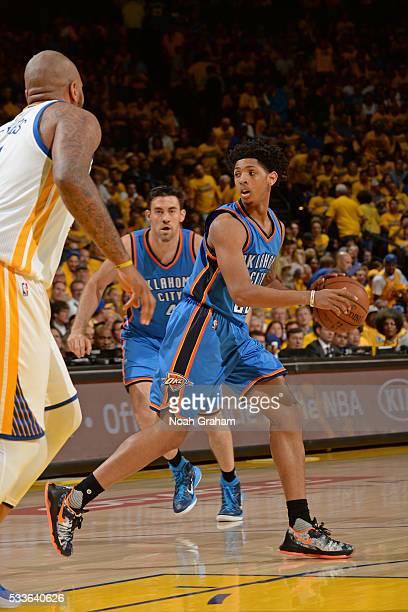Cameron Payne of the Oklahoma City Thunder handles the ball during the game against the Golden State Warriors in Game Two of the Western Conference...