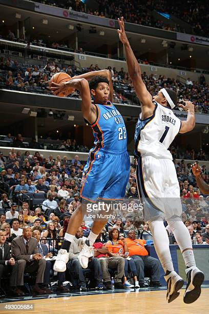 Cameron Payne of the Oklahoma City Thunder looks to pass against the Memphis Grizzlies during a preseason game on October 16 2015 at FedExForum in...