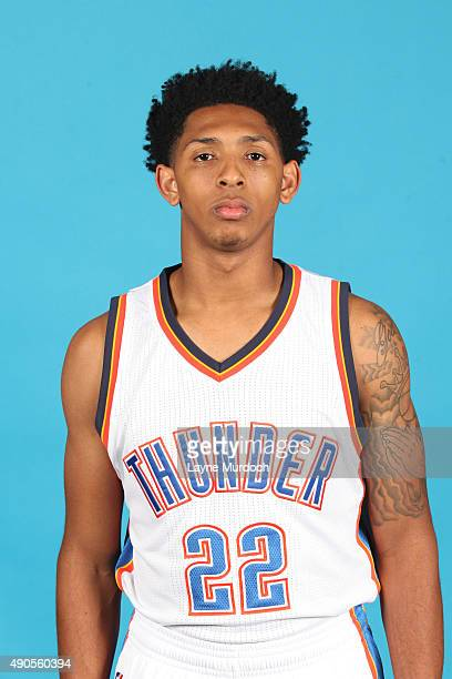 Cameron Payne of the Oklahoma City Thunder poses for a portrait during 2015 NBA Media Day on September 28 2015 at the Thunder Events Center in Edmond...