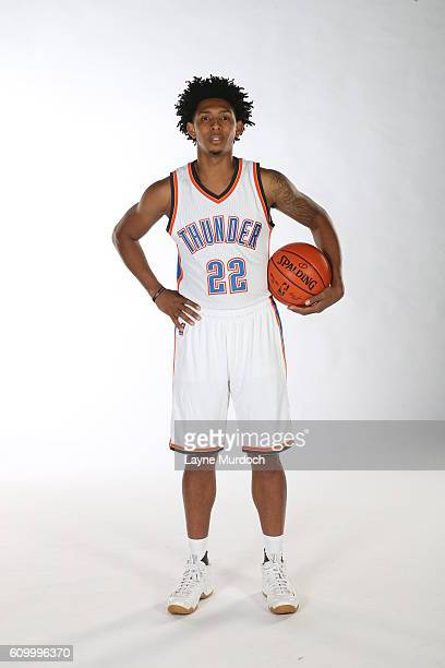 Cameron Payne of the Oklahoma City Thunder poses for a portrait during 2016 NBA Media Day on September 23 2016 at the Chesapeake Energy Arena in...